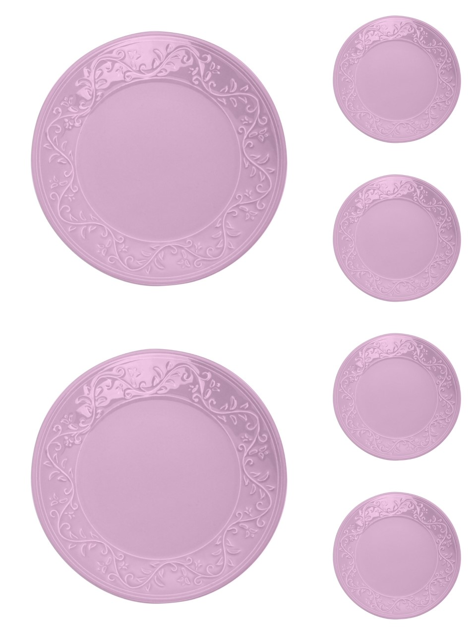 Jogo 6 pratos 26 cm raso de cerâmica Alanya Plum Wolff - 17499