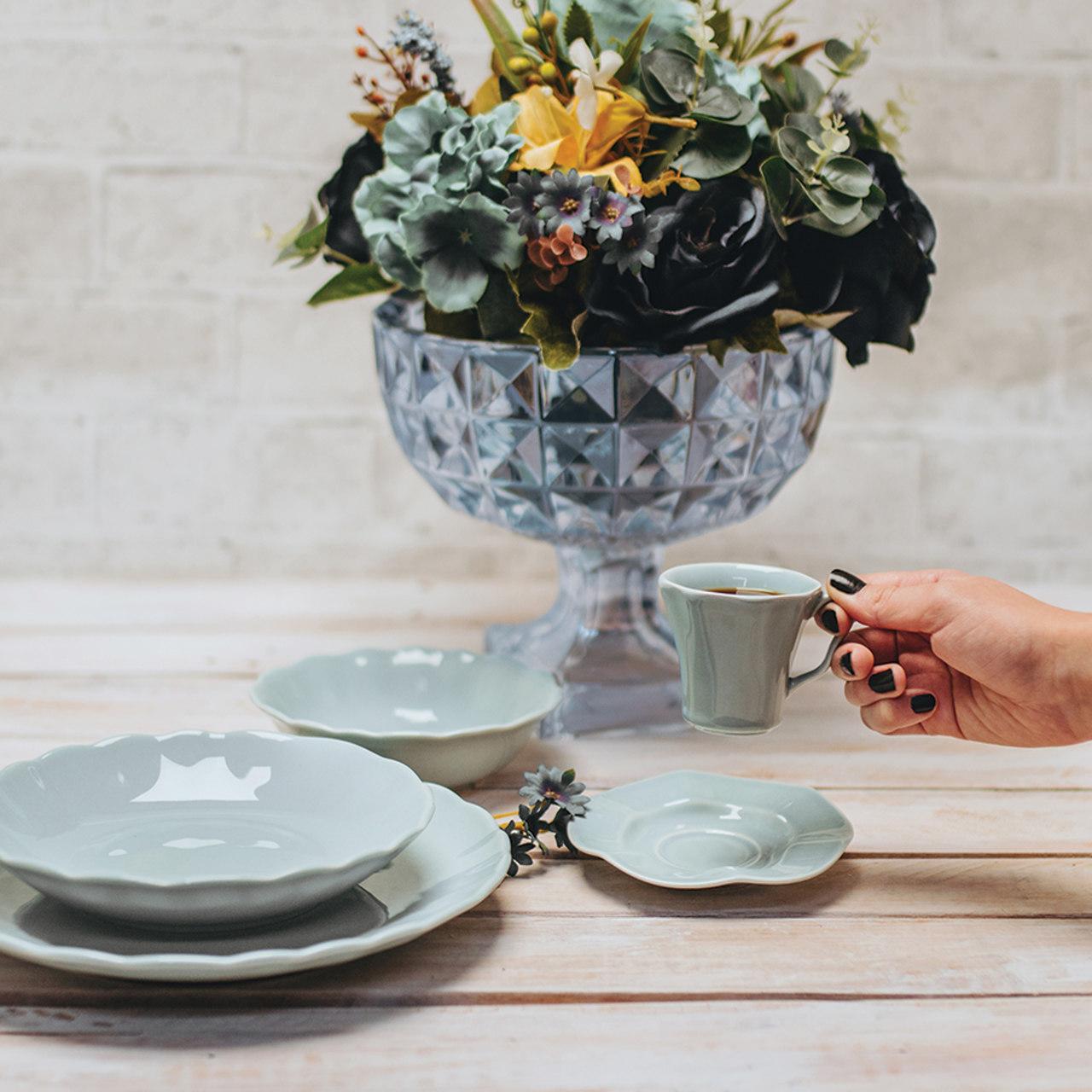 Jogo 6 pratos 26 cm raso de cerâmica Bergama Mint Wolff - 17519