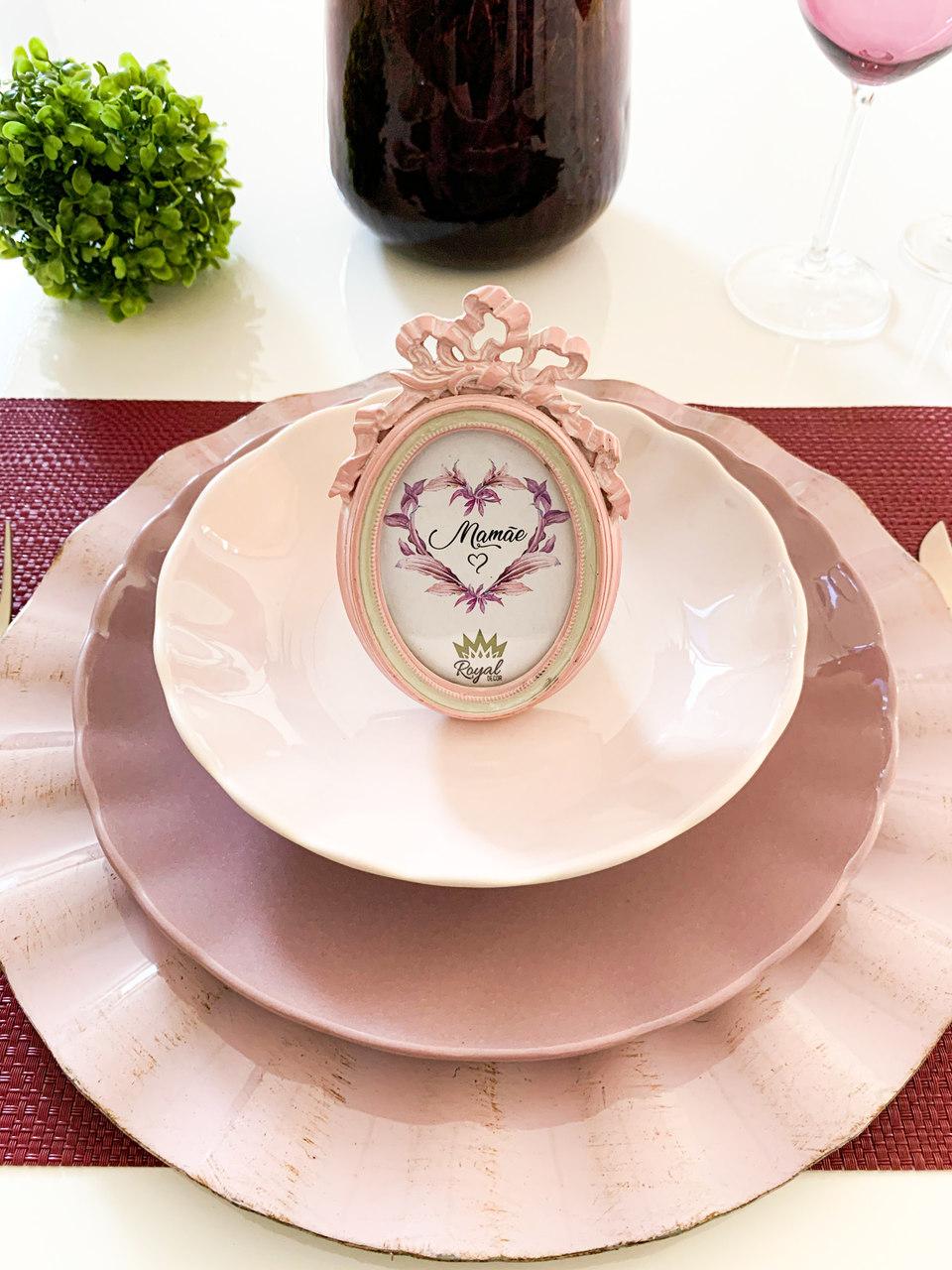 Jogo 6 pratos 26 cm raso de cerâmica Bergama Plum Wolff - 17531