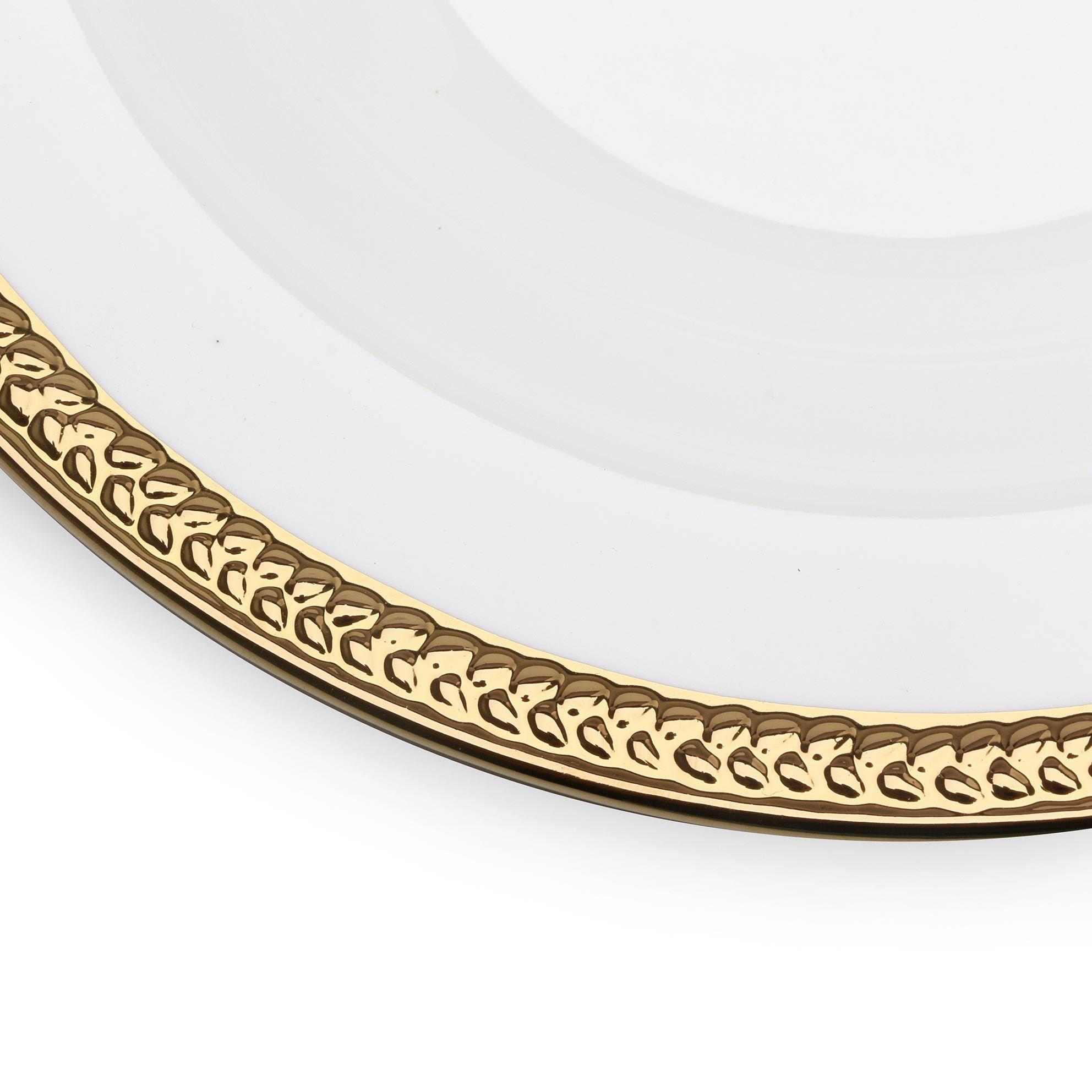 Jogo 6 pratos fundos 22 cm de porcelana branca e dourado Paddy Wolff - 25111
