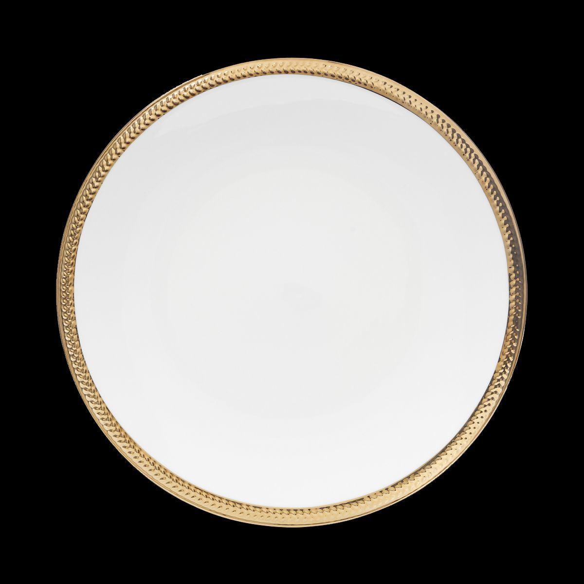 Jogo 6 pratos rasos 27 cm de porcelana branca e dourado Paddy Wolff - 25109