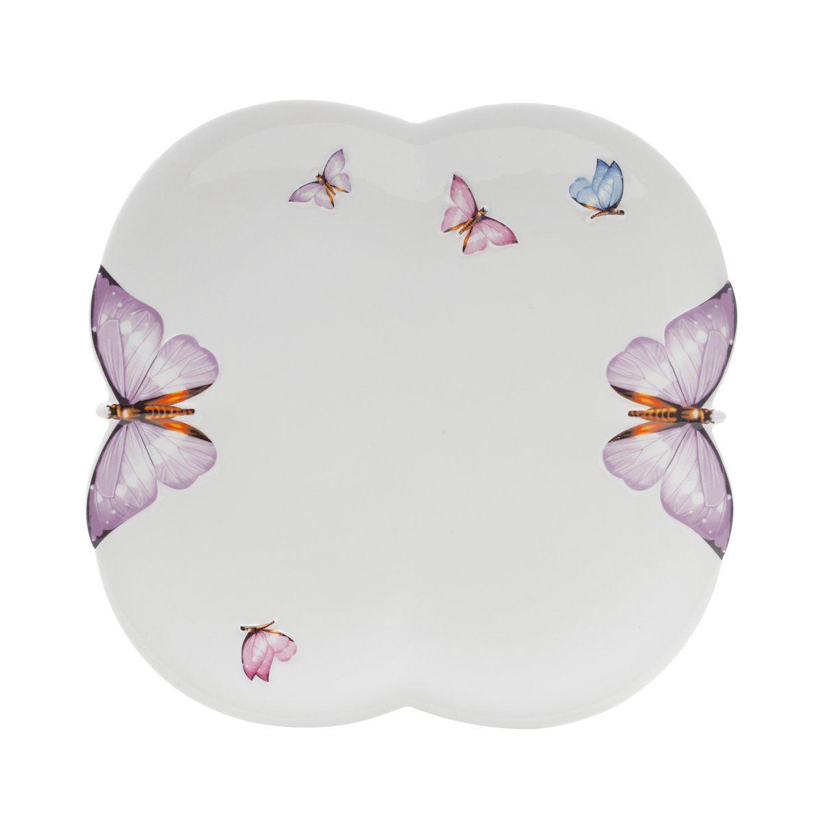 Jogo 6 Sousplats 30,5 cm de porcelana branca Borboletas Wolff - 1170
