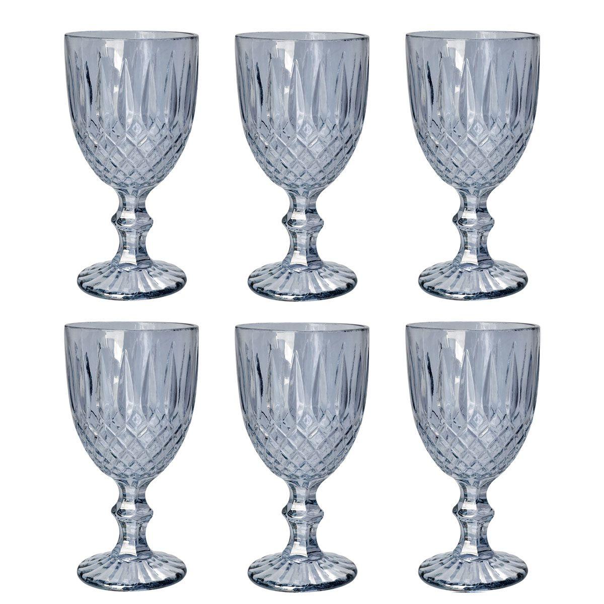 Jogo 6 taças 220ml para água de vidro cinza Greek Bon Gourmet - 35454