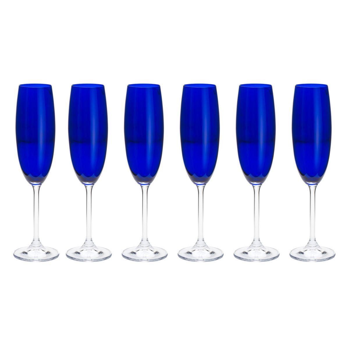 Jogo 6 taças 220ml para champagne de cristal ecológico cobalto Gastro/Colibri Bohemia - 35039