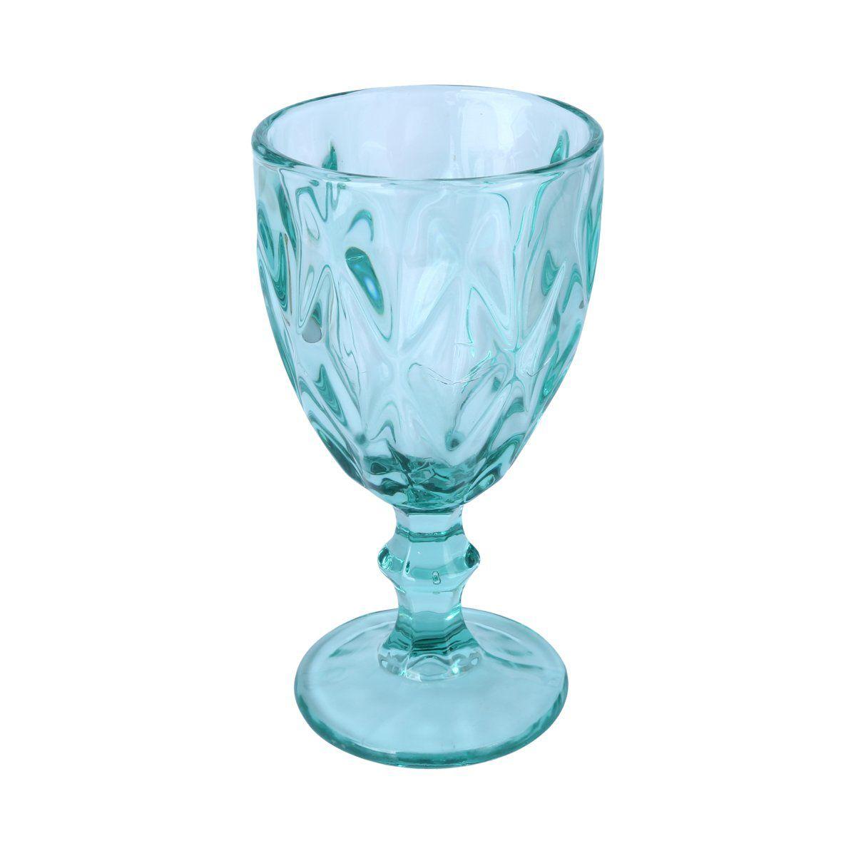 Jogo 6 taças 260ml para água de vidro azul tiffany Diamond Lyor - L66930