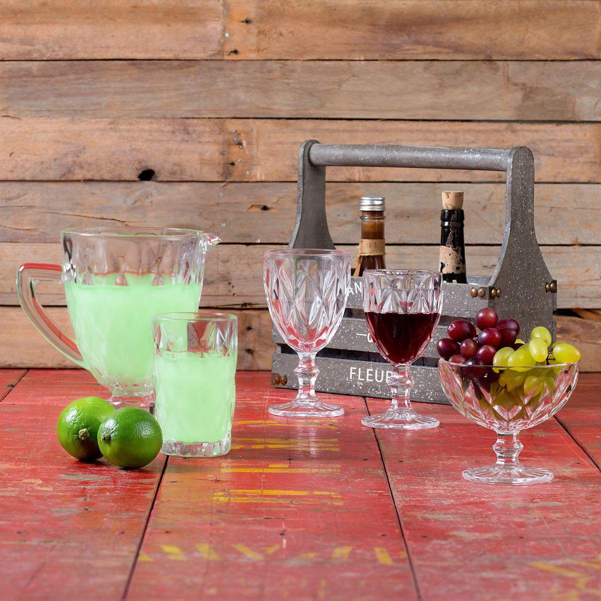 Jogo 6 taças 260ml para água de vidro transparente Diamond Lyor - L6473