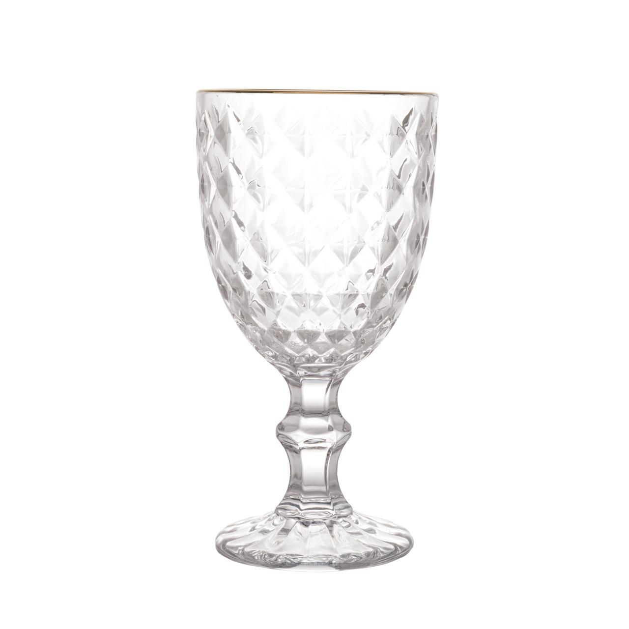 Jogo 6 taças 345ml para água de vidro com fio ouro Roman Bon Gourmet - 35694