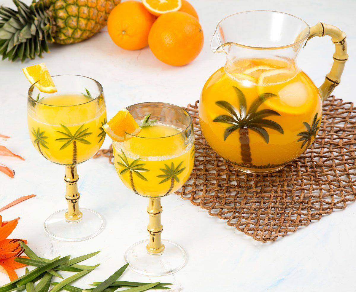 Jogo 6 taças 450ml para água ou suco de acrílico Palm Tree Bon Gourmet - 10938