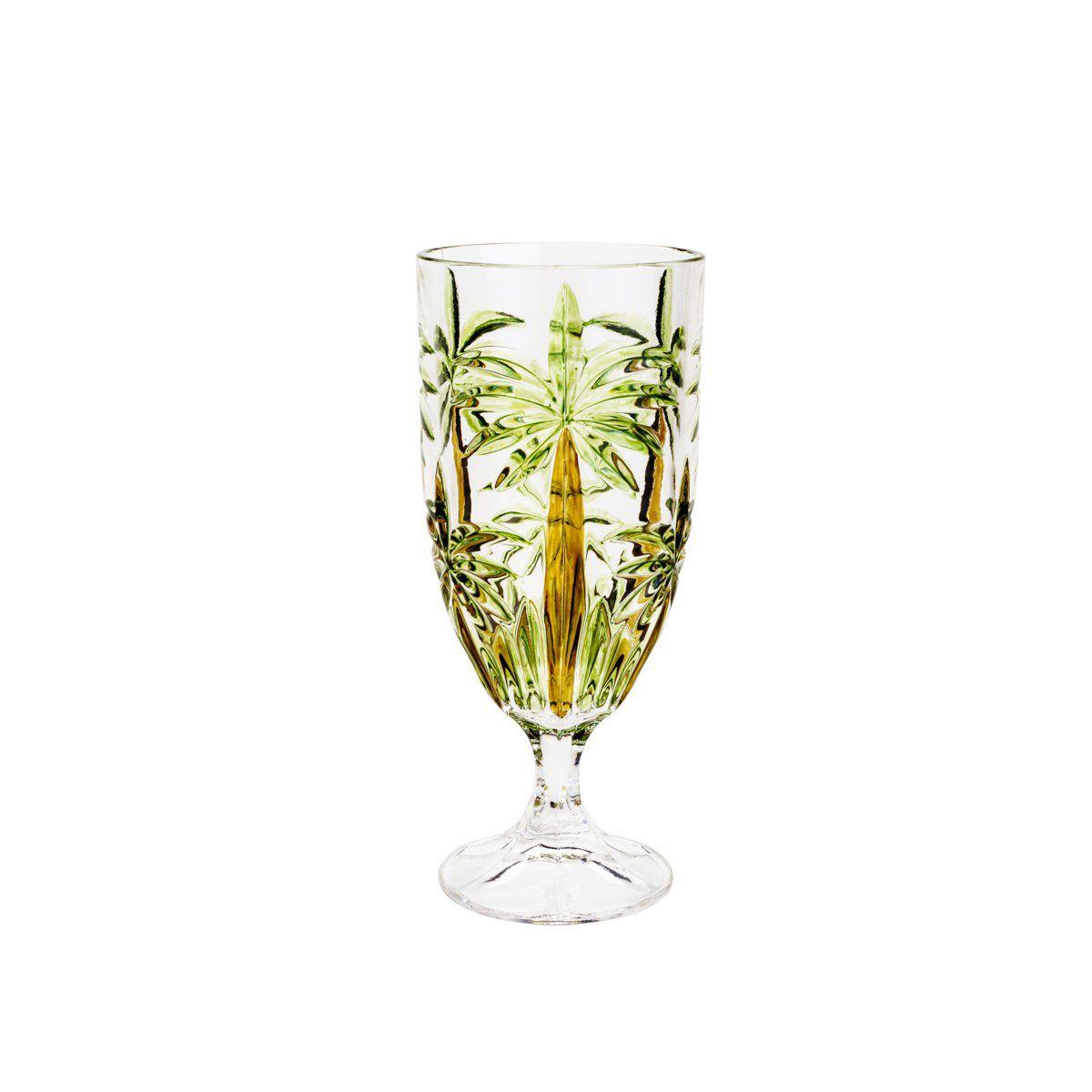 Jogo 6 taças 450ml para água ou suco de cristal Palm Tree Sprayed Wolff - 27441