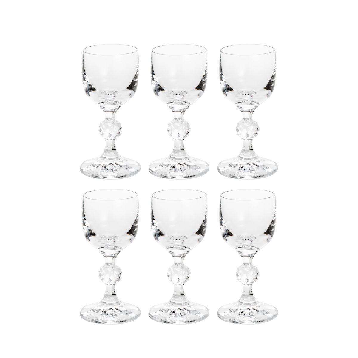 Jogo 6 taças 50ml para licor de cristal ecológico transparente Klaudie Bohemia - 5437