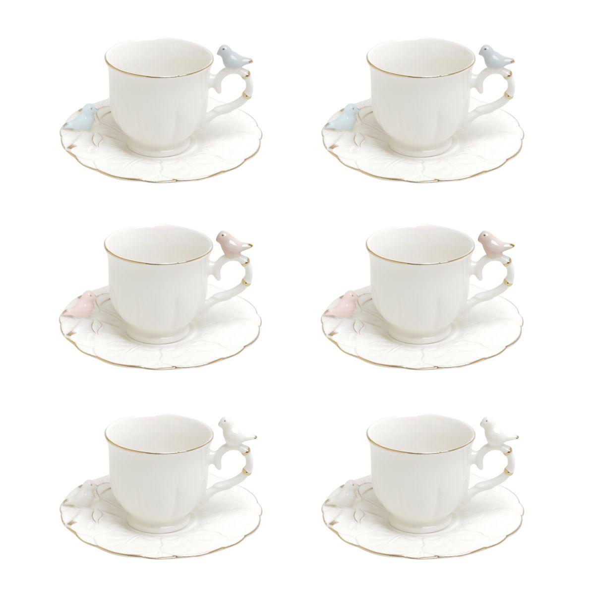 Jogo 6 xícaras 100ml para café de porcelana colorida com pires redondo Birds Wolff - 35471