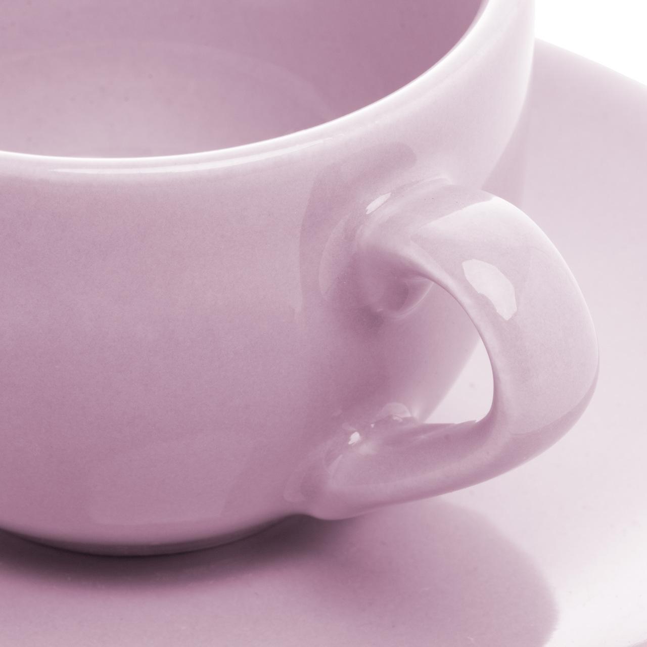 Jogo 6 xícaras 125ml para café de cerâmica com pires Alanya Plum Wolff - 17503