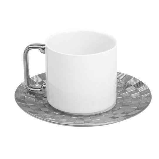 Jogo 6 xícaras 200ml para chá de porcelana branca e prateada com pires Vera Wolff - 17435