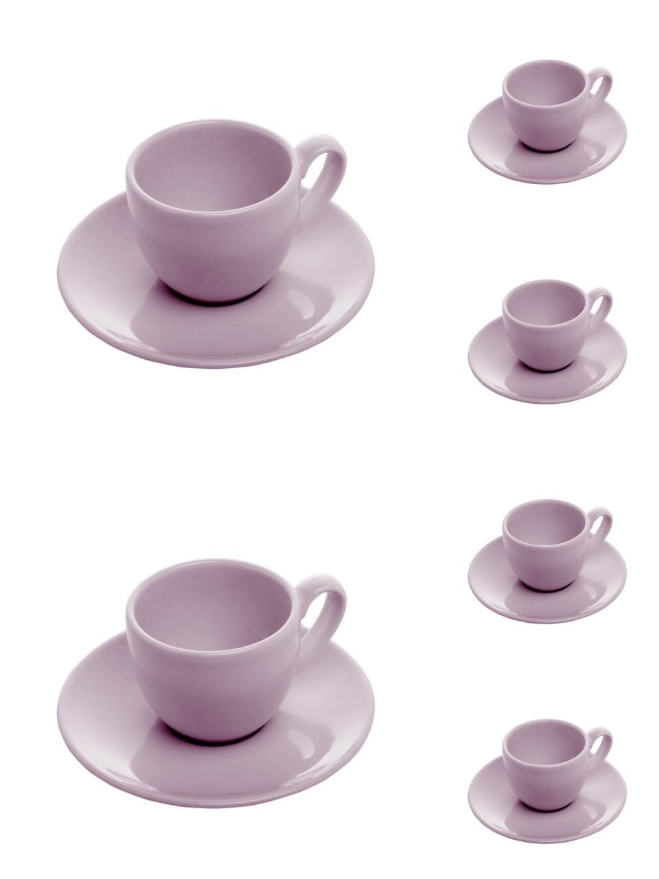 Jogo 6 xícaras 200ml para chá de cerâmica com pires Alanya Plum Wolff - 17504