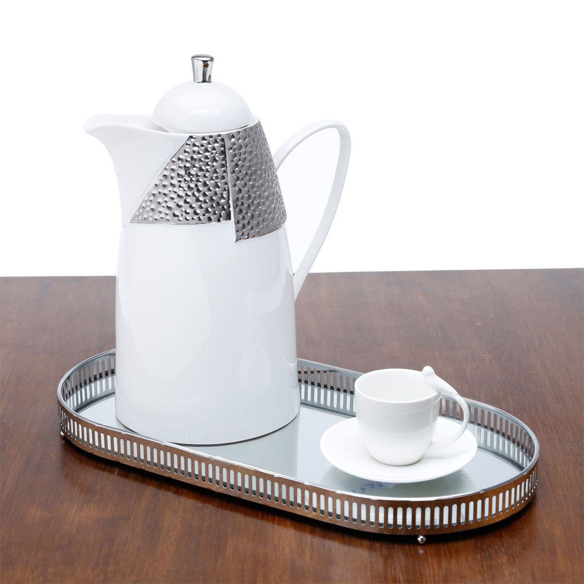 Jogo 6 xícaras 80ml para café de porcelana branca com pires Birds Wolff - 17236