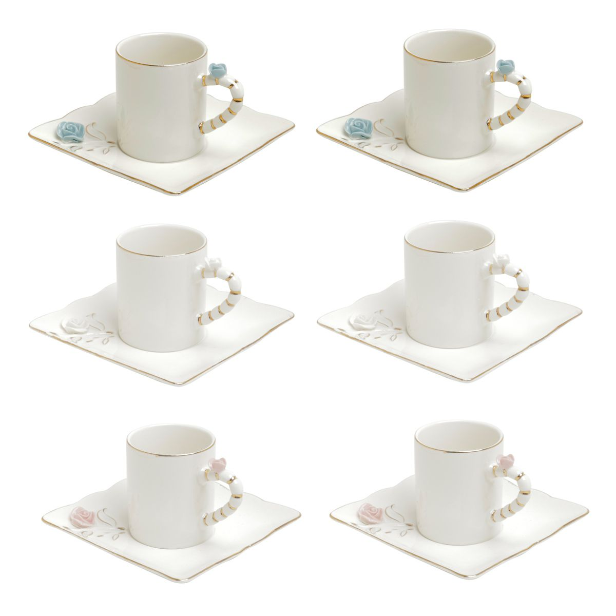 Jogo 6 xícaras 80ml para café de porcelana colorida com pires quadrado Flower Wolff - 35470
