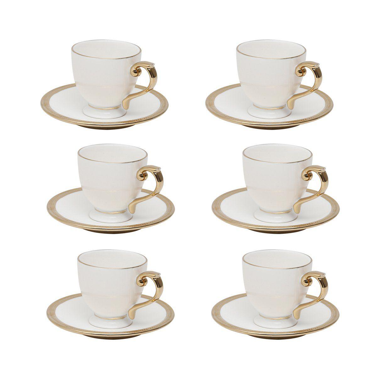 Jogo 6 xícaras 90ml para café de porcelana branca e dourado com pires Paddy Wolff - 25112