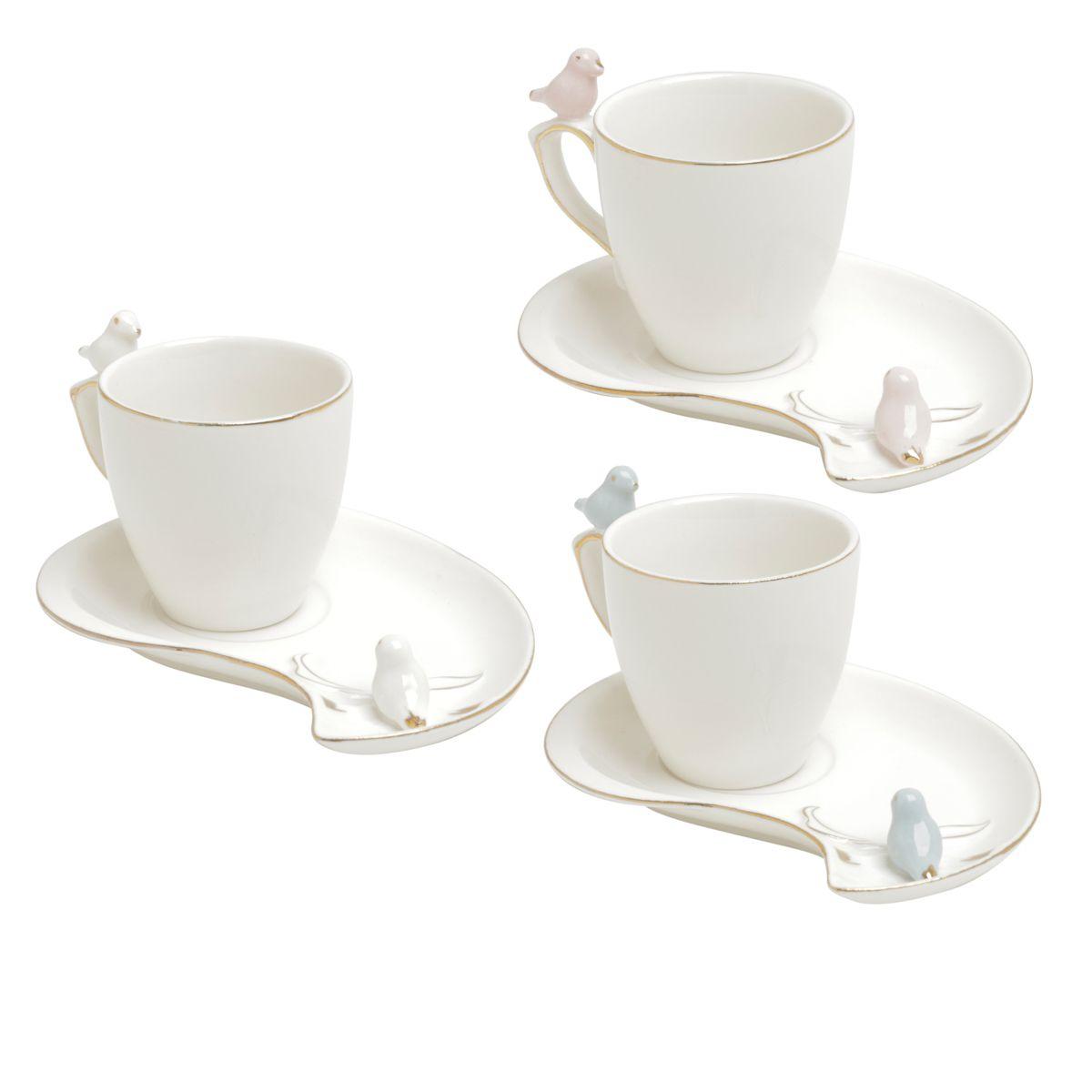 Jogo 6 xícaras 90ml para café de porcelana colorida com pires design Cute Birds Wolff - 35467