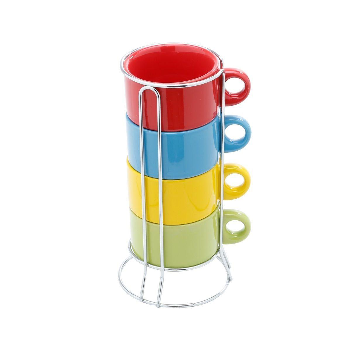 Jogo 4 xícaras 200ml para café e chá de porcelana colorido com suporte Bon Gourmet - 30398
