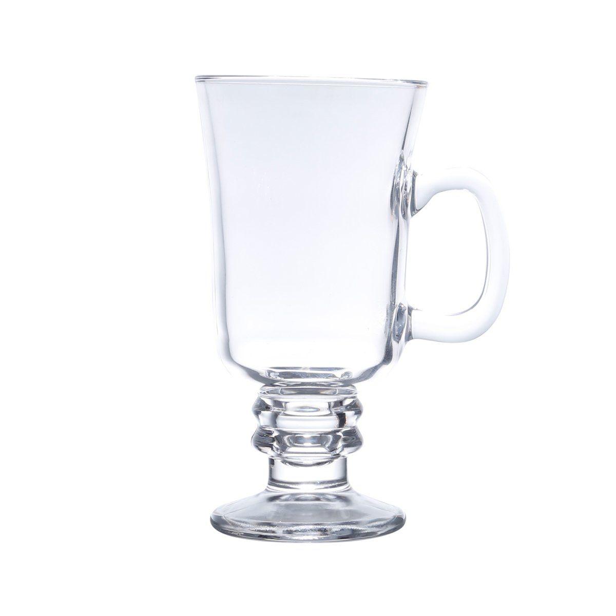 Jogo 6 copos 114 ml para cappuccino e café de vidro transparente com alça e pé Lyor - L6629