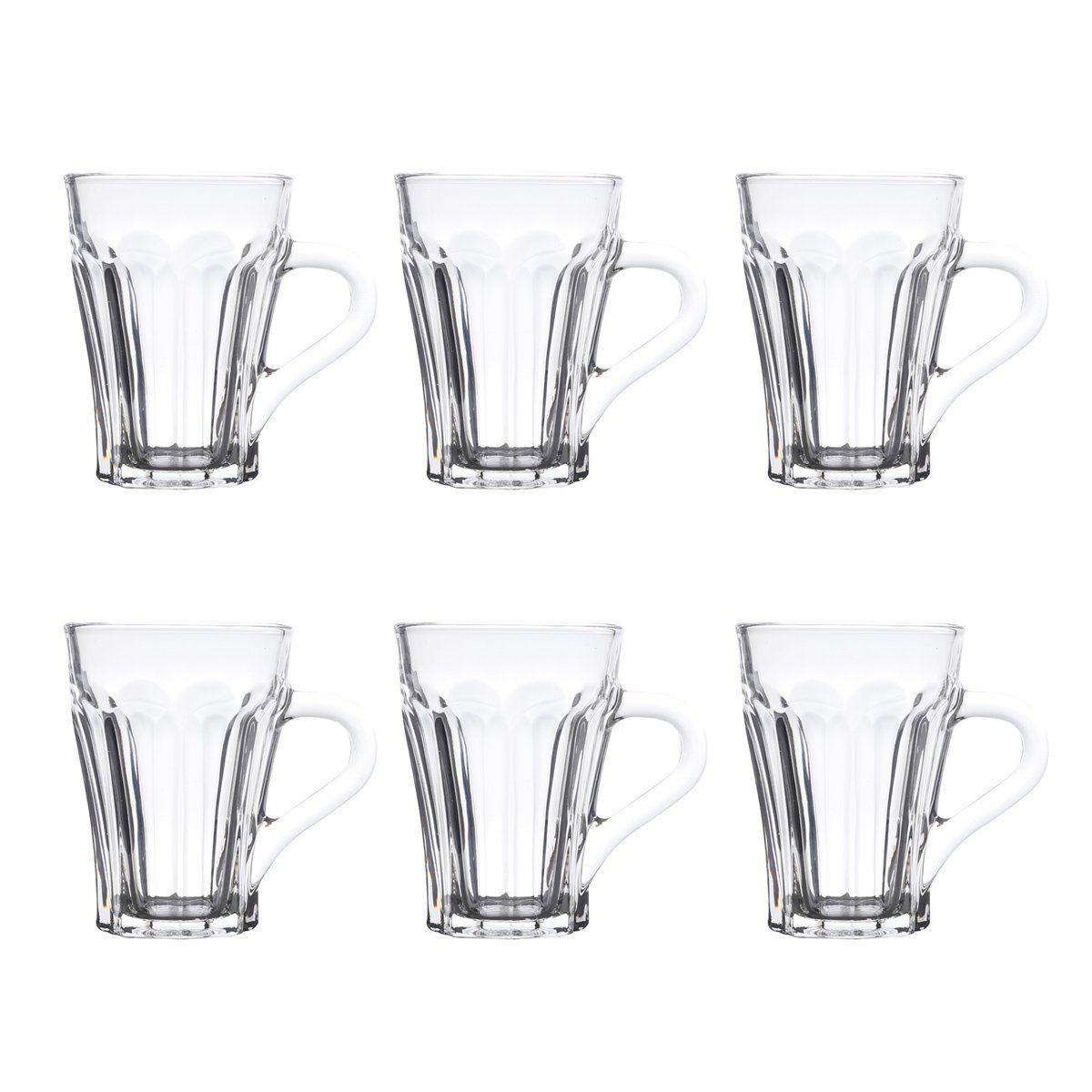 Jogo de 6 copos 140ml para café de vidro transparente com alça Allure Bon Gourmet - 25626