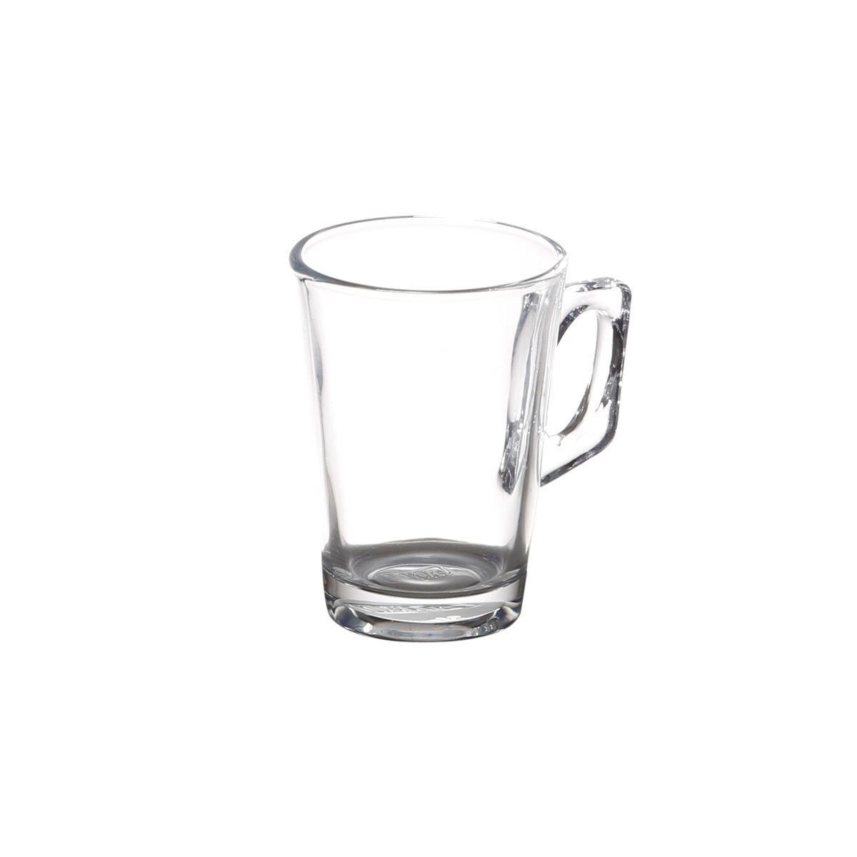 Jogo 6 copos 150ml para café de vidro transparente com alça Experience Lyor - L6270