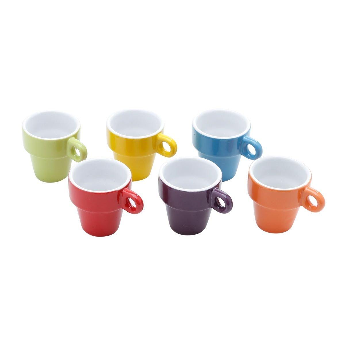 Jogo 6 xícaras 60ml para café de porcelana colorido com suporte Bon Gourmet - 30367