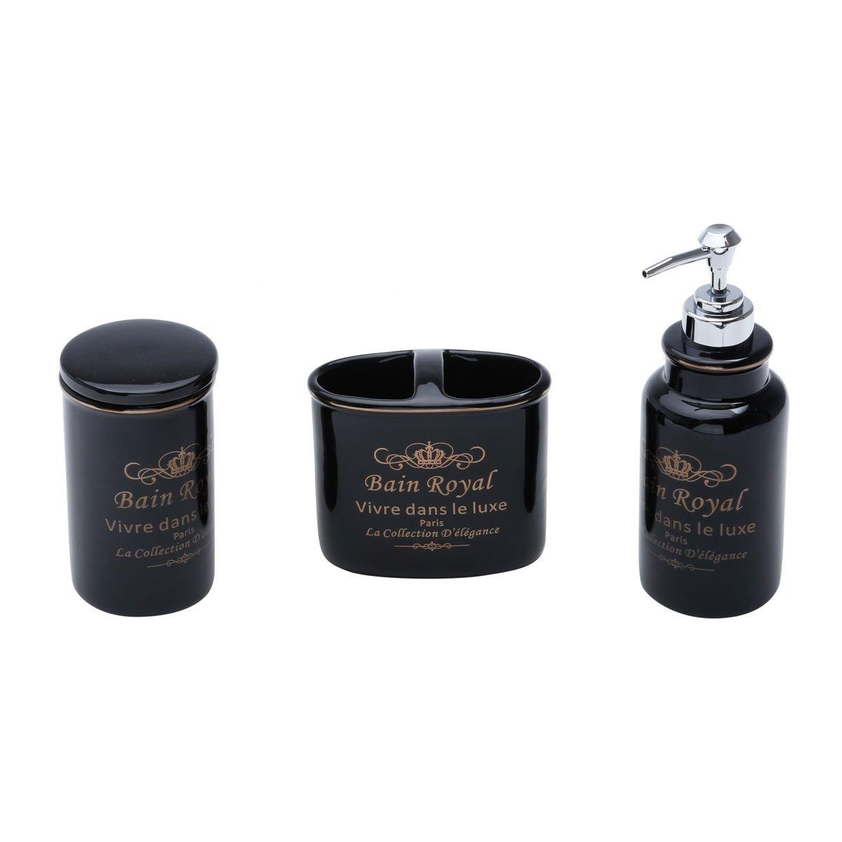 Jogo 4 peças para banheiro de cerâmica preto Royal Prestige - 25736