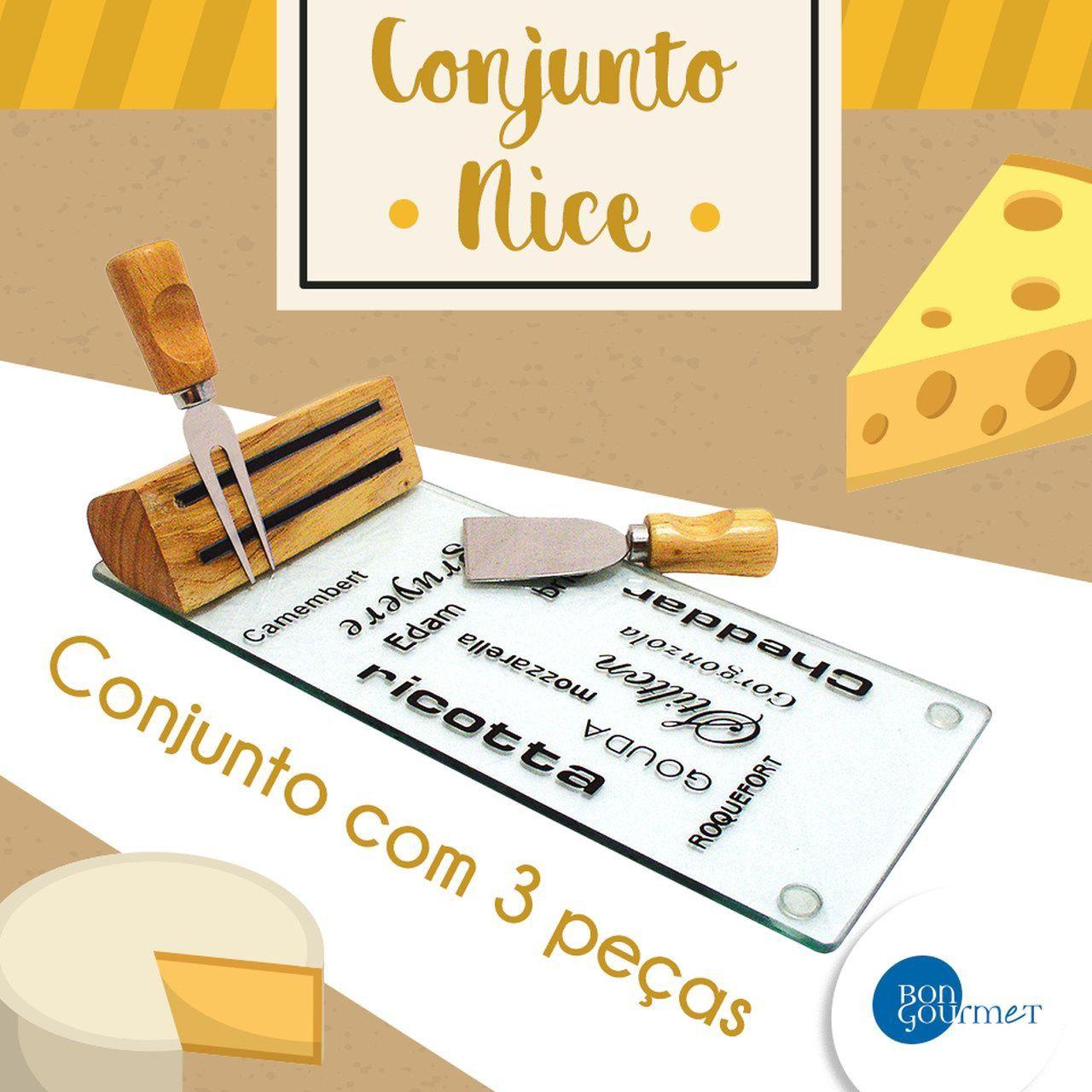 Kit 3 peças para queijo de vidro, madeira e aço inox Nice Bon Gourmet - 7850