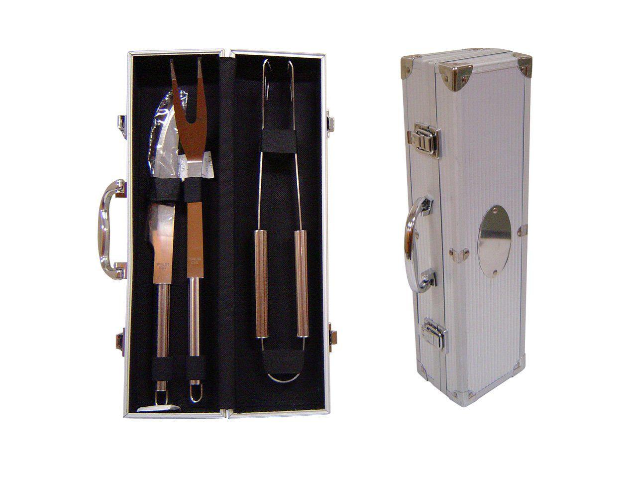 Kit churrasco 3 peças de aço inox com maleta de metal Pontual - P141889