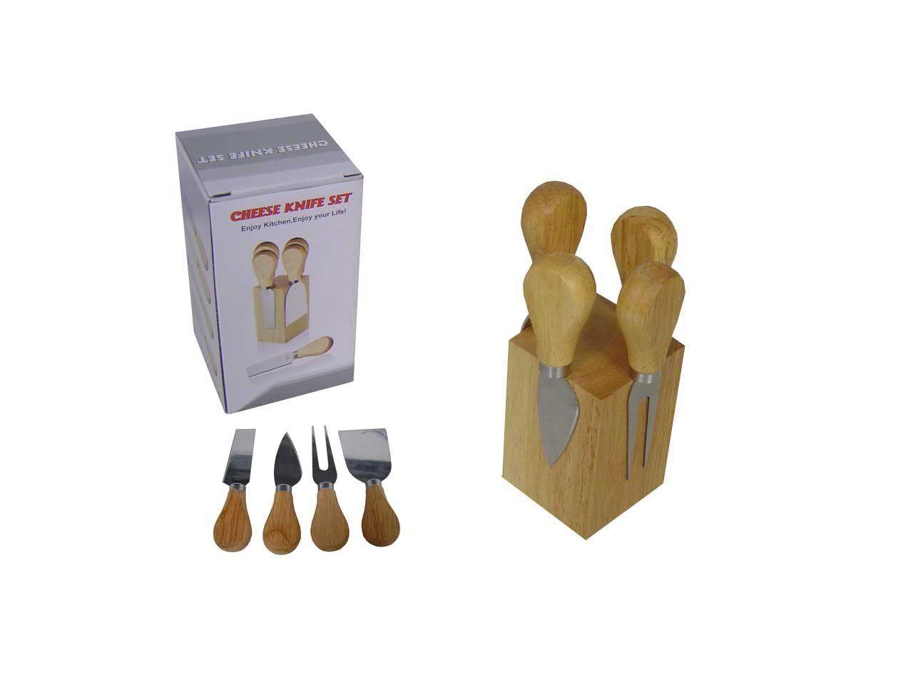Kit 4 peças para queijo de aço inox e madeira com suporte Pontual - P143216