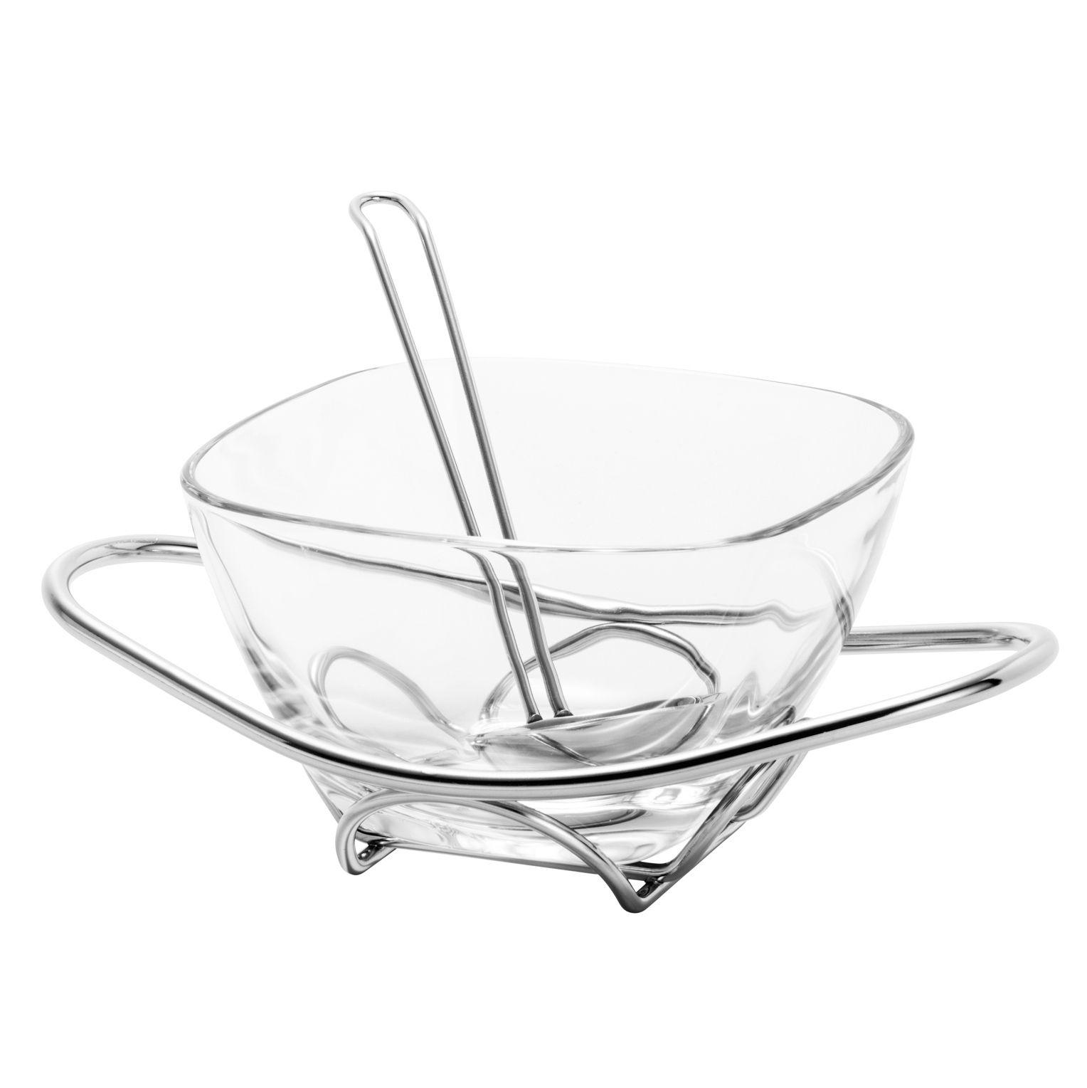 Molheira 700ml de vidro com suporte e concha de aço inox prateado Fenice Wolff - 8695