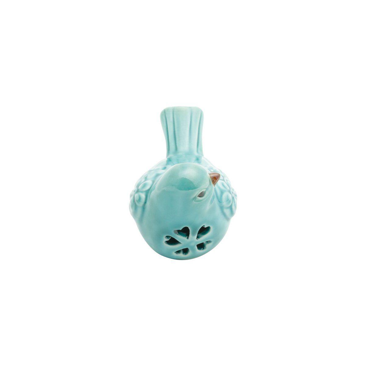 Pássaro decorativo 10,5 x 6 cm de cerâmica azul Flores Lyor - L4172