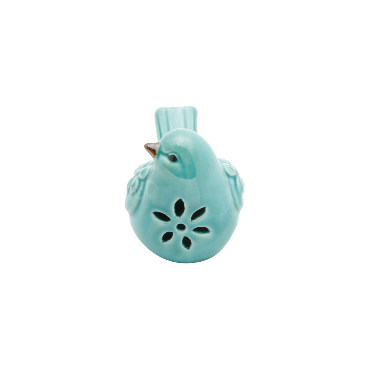 Pássaro decorativo 10,5 x 6 cm de cerâmica azul Garden Lyor - L4173