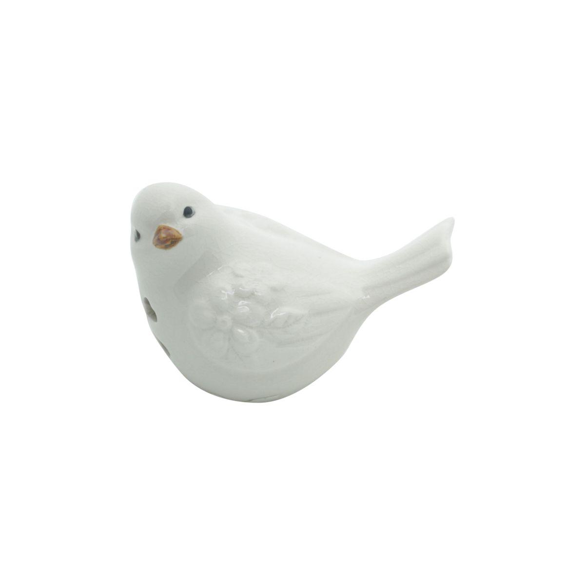 Pássaro decorativo 10 x 6,5 cm de cerâmica branca Peace Lyor - L4179