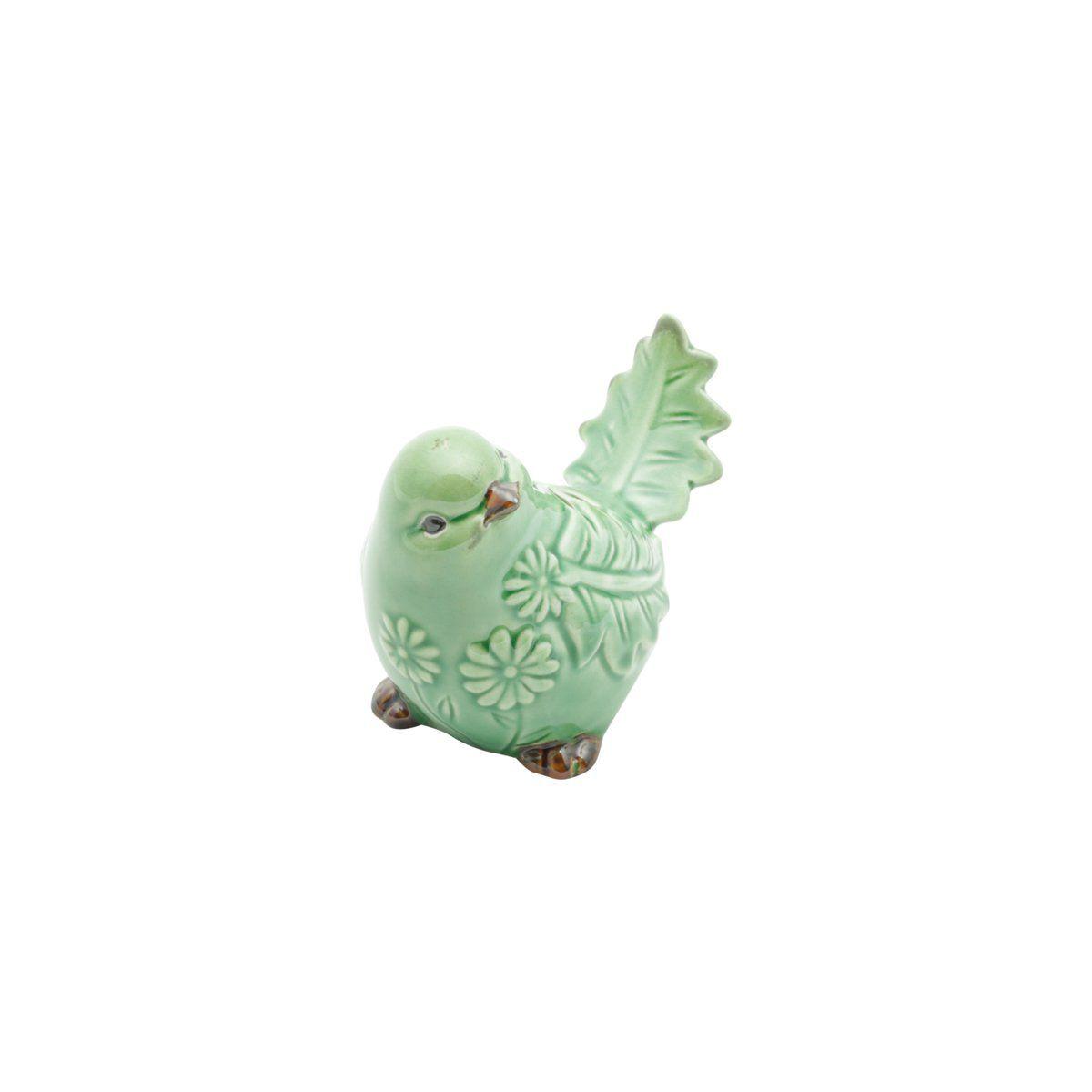 Pássaro decorativo 9,5 x 6,5 cm de cerâmica verde Amazon Lyor - L4177