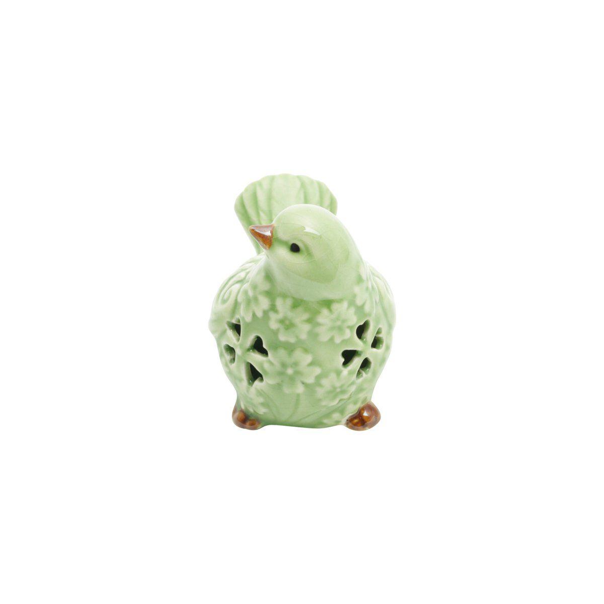 Pássaro decorativo 9,5 x 6,5 cm de cerâmica verde Tree Lyor - L4181
