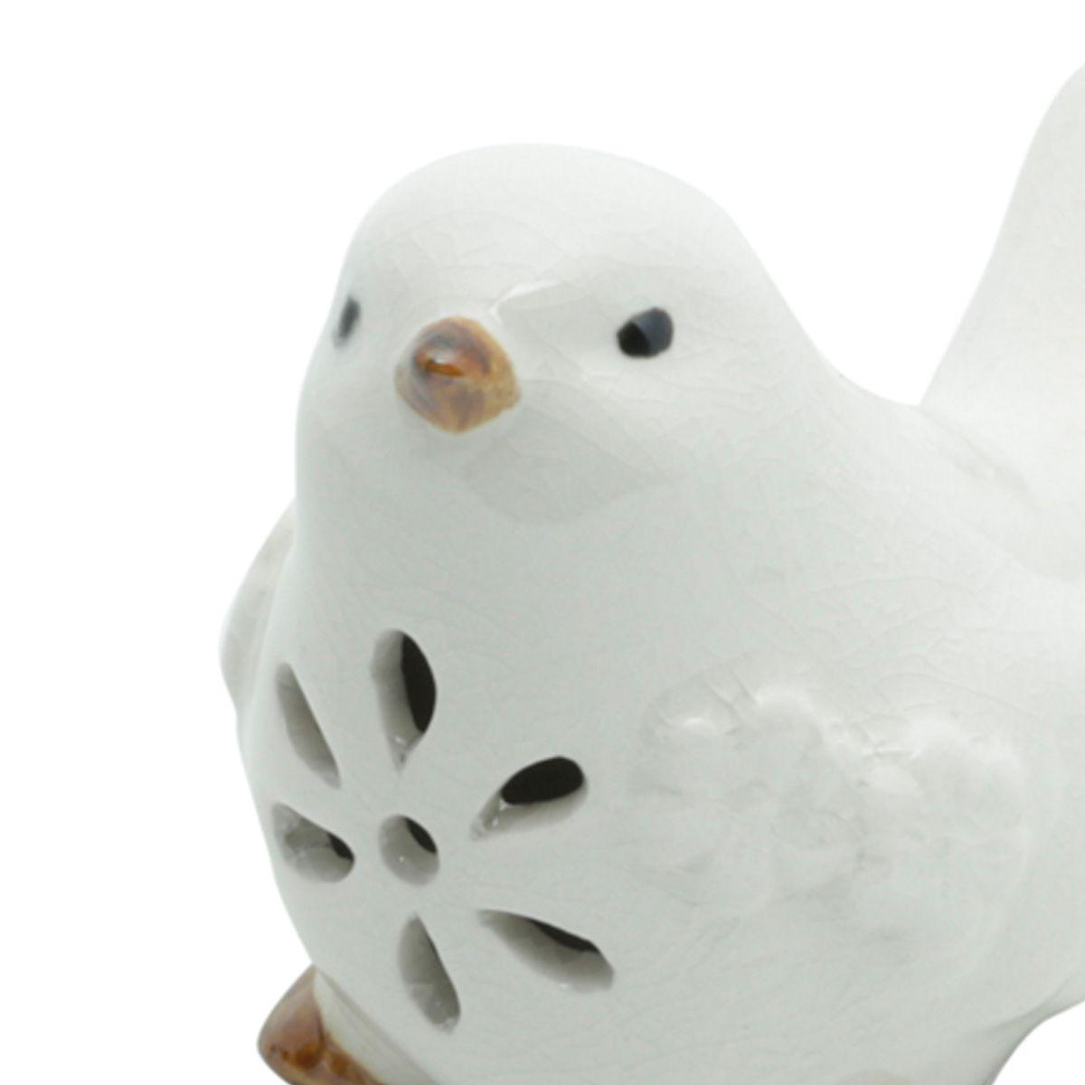 Pássaro decorativo 9,5 x 6 cm de cerâmica branca Peace Lyor - L4178