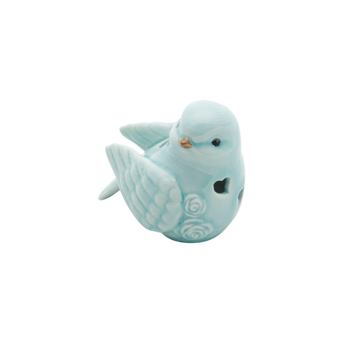 Pássaro decorativo 9 x 7 cm de cerâmica azul claro Heart Lyor - L4175