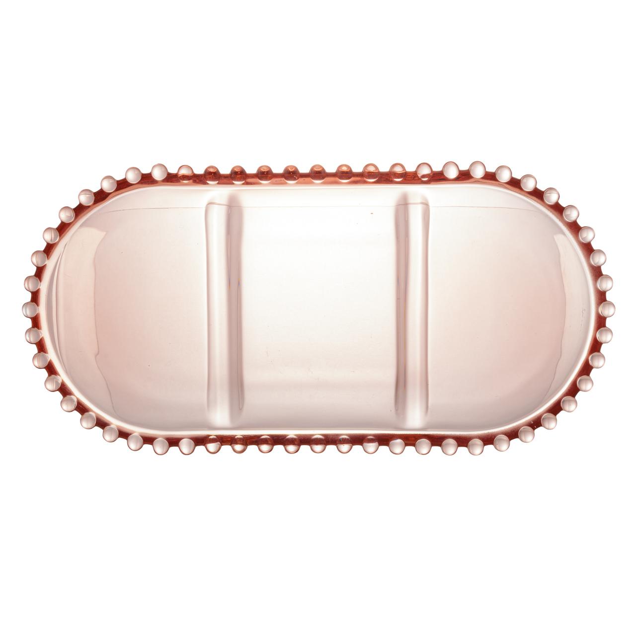 Petisqueira 30 cm de cristal com 3 divisões oval Pearl Wolff - 28465