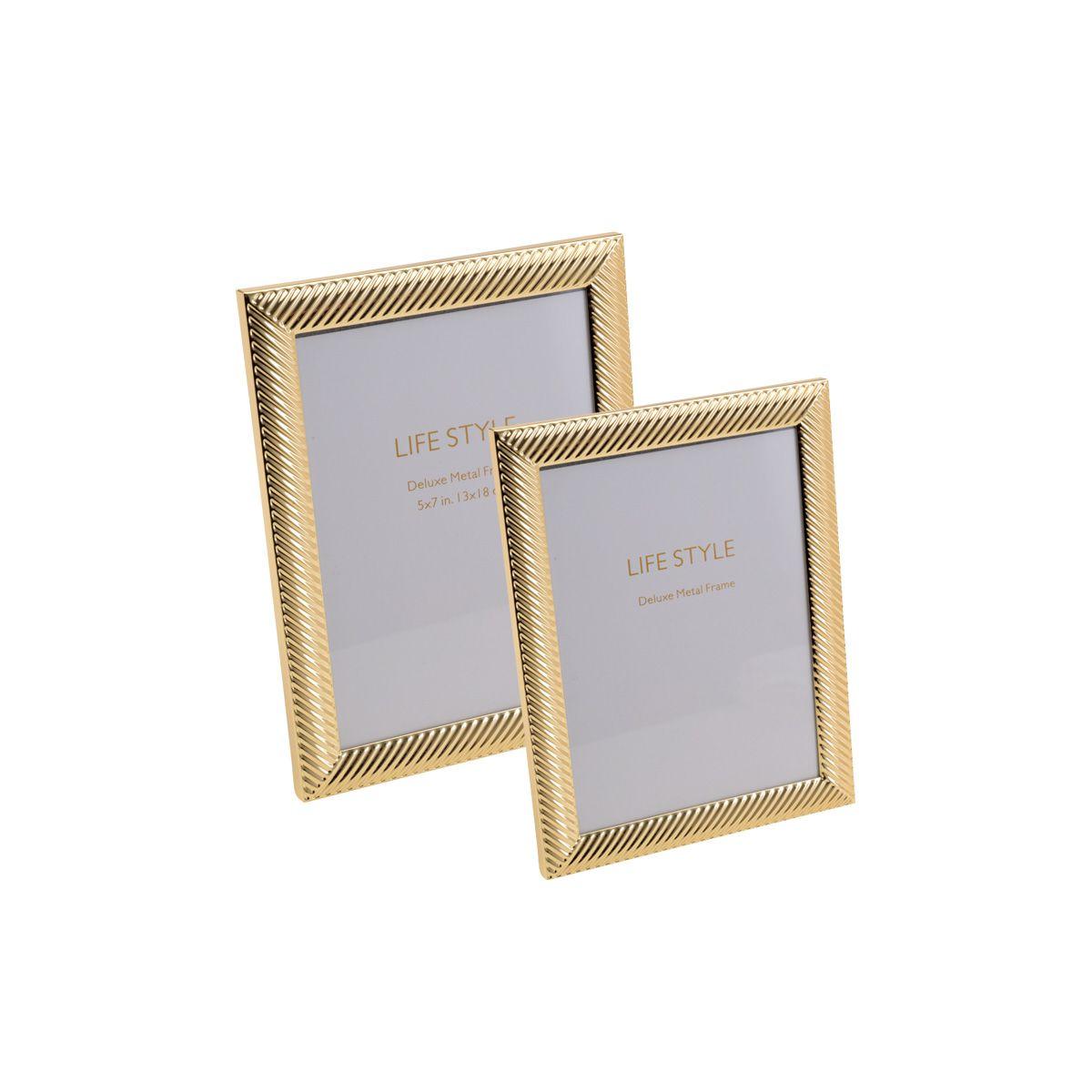 Porta-retrato 10 x 15 cm de aço dourado Thick Line Royal - 30456