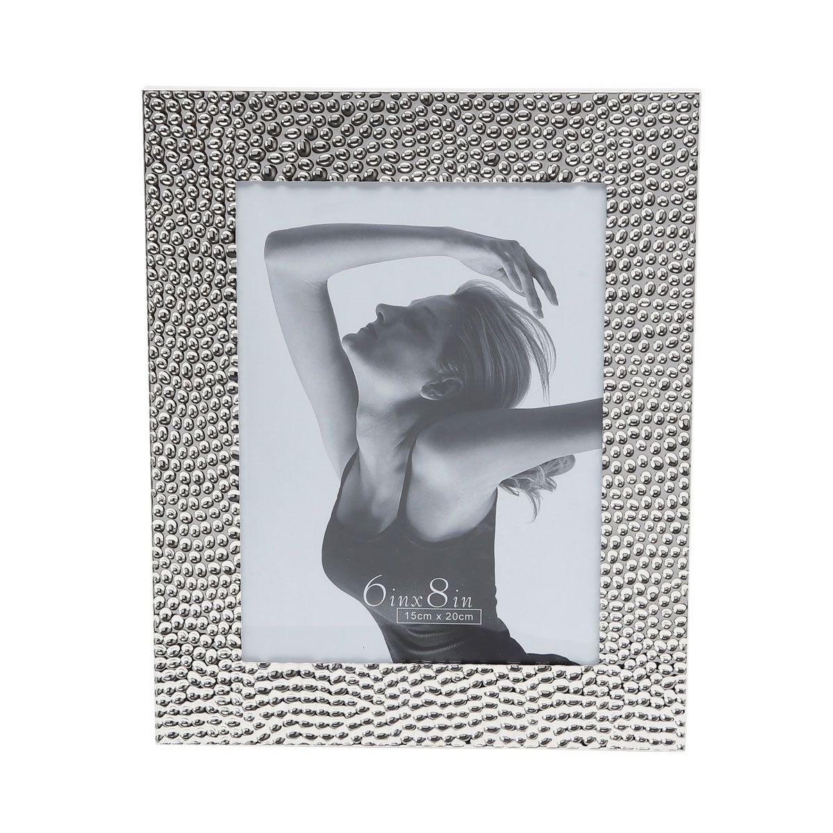 Porta-retrato 13 x 18 cm de aço prateado Martelado Prestige - 3077