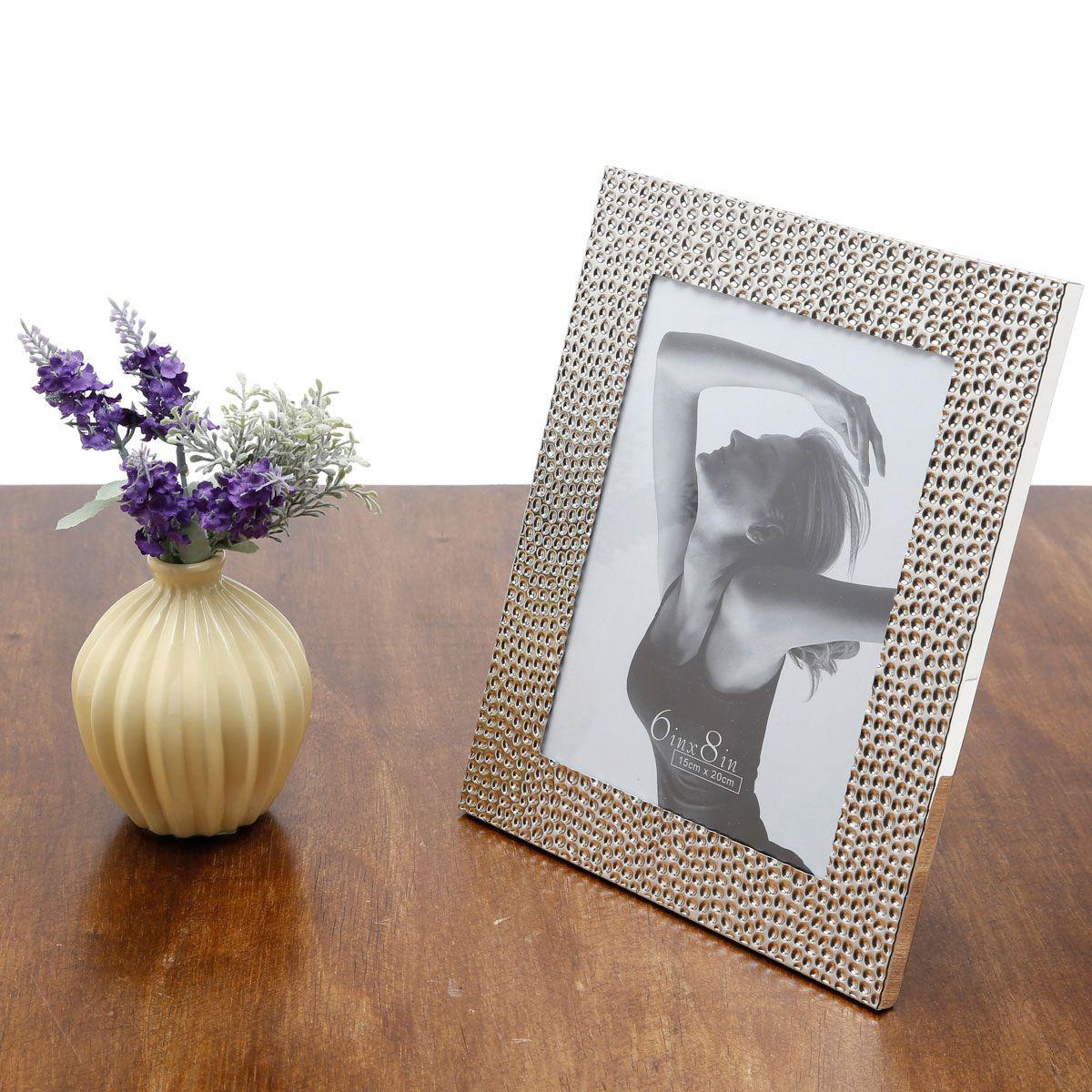 Porta-retrato 20 x 25 cm de aço prateado Martelado Prestige - 3079