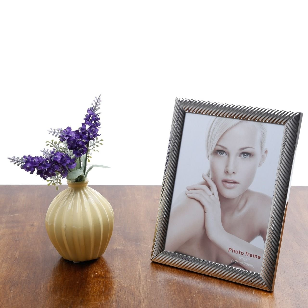 Porta-retrato 15 x 20 cm de aço prateado Lines Prestige - 25512