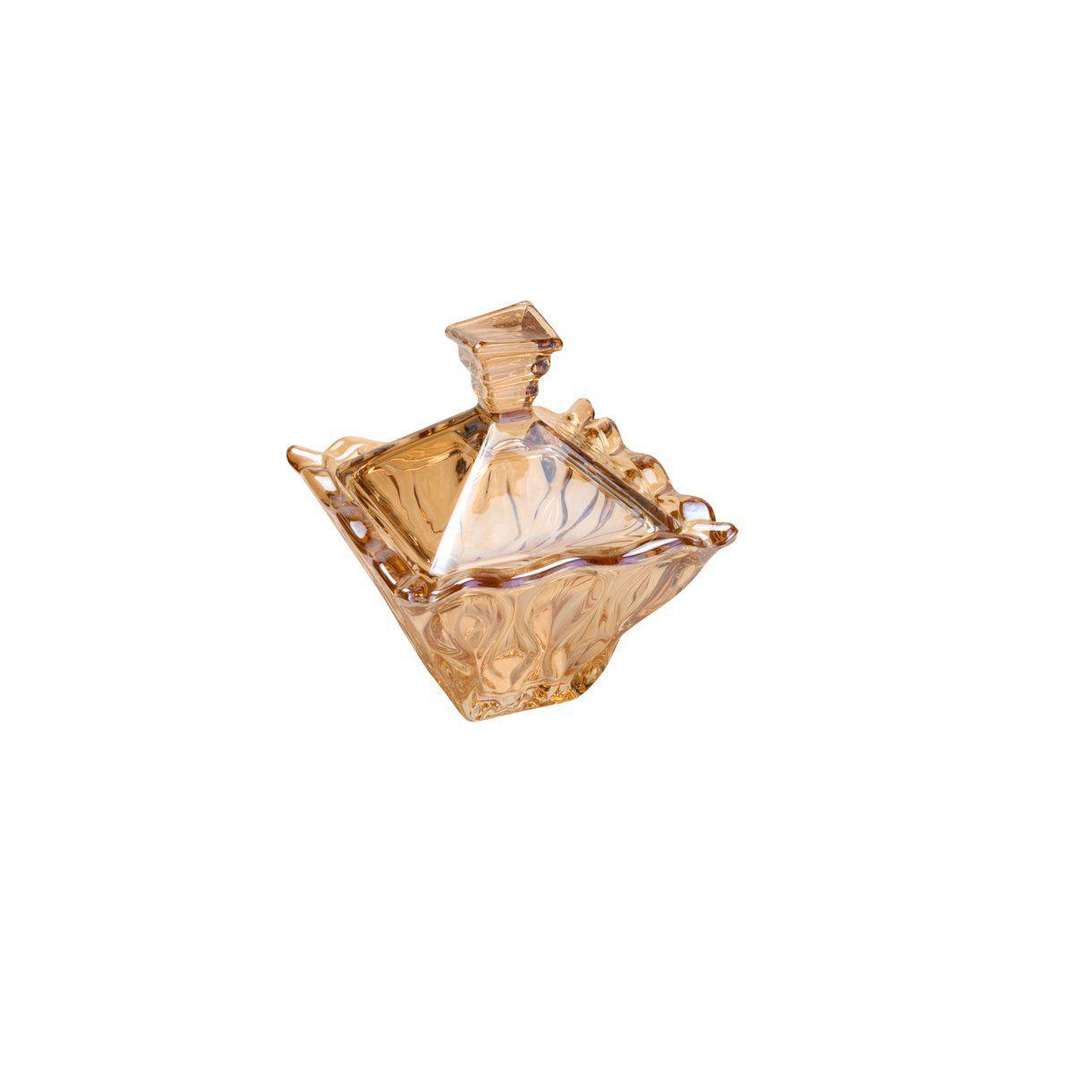 Porta Treco, bomboniere 12,5 cm de cristal âmbar com tampa Safir Wolff - 26051