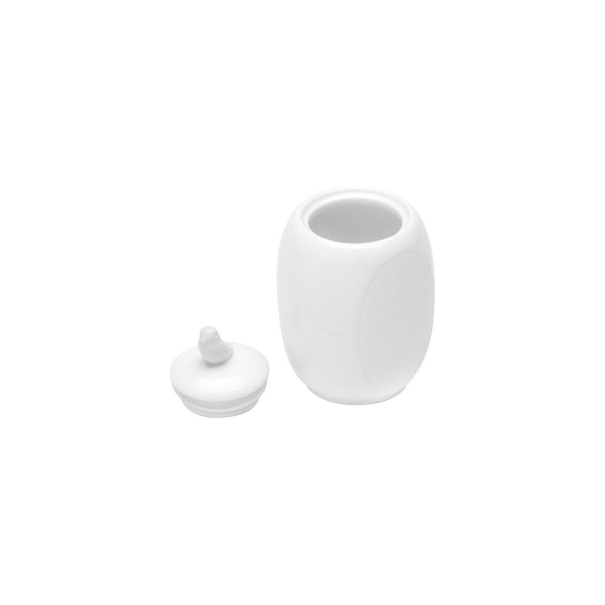 Pote 11 cm de porcelana branca com tampa Birds Wolff - 17296