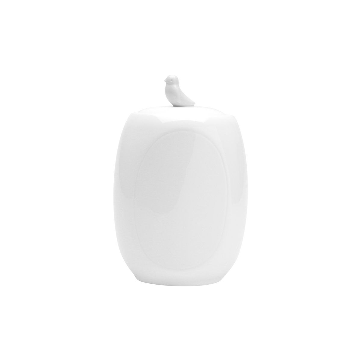 Pote 17 cm de porcelana branca com tampa Birds Wolff - 17307