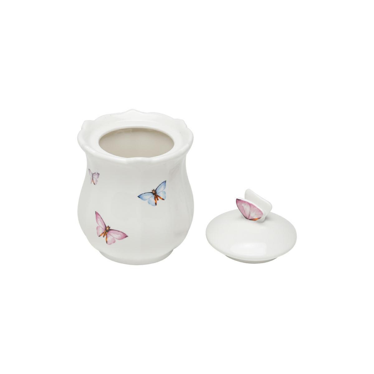 Pote 350ml de porcelana com tampa Borboletas Wolff - 1152