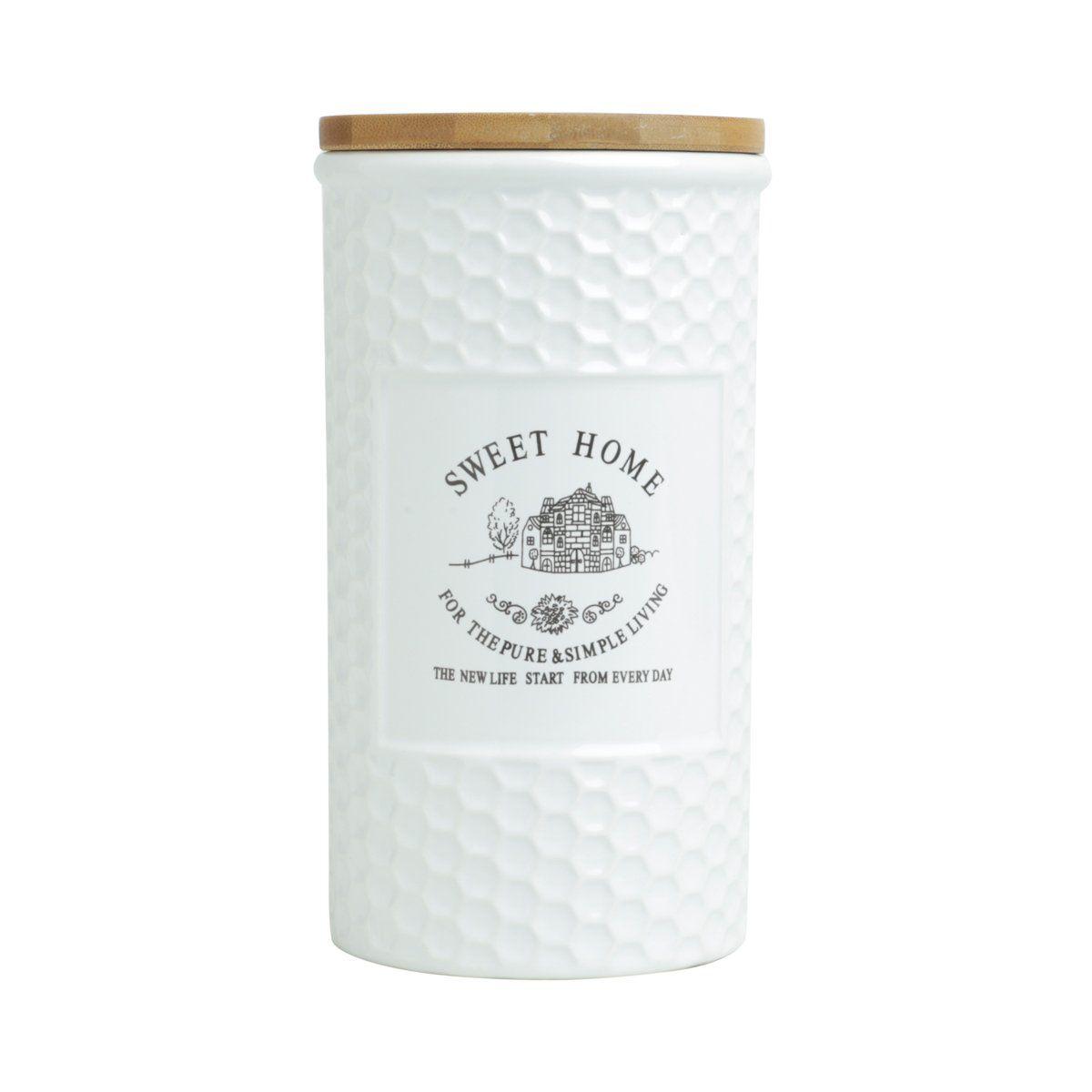 Pote 1,25 litro de porcelana branca com tampa de madeira Sweet Home Bon Gourmet - 27444