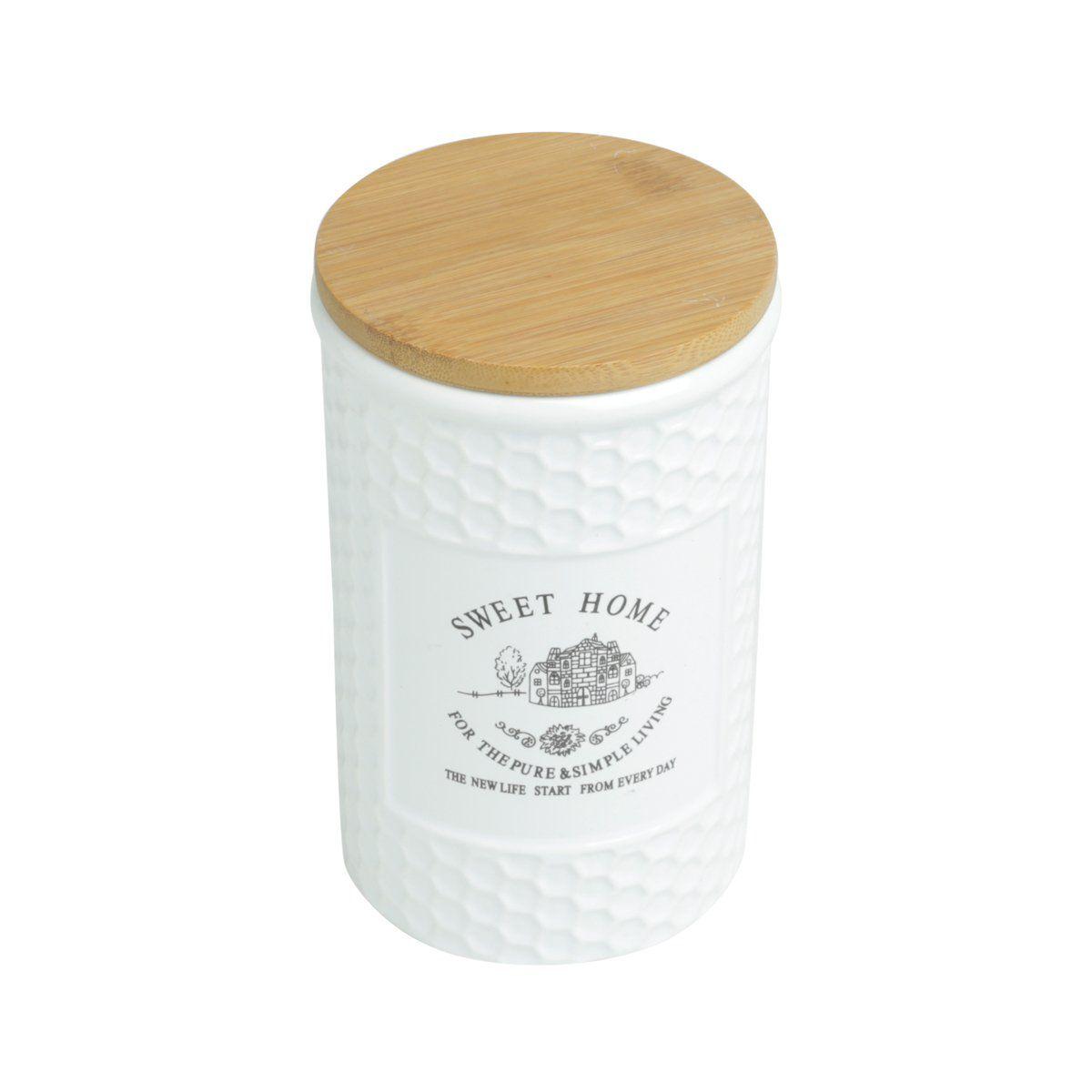 Pote 1 litro de porcelana branca com tampa de madeira Sweet Home Bon Gourmet - 27445